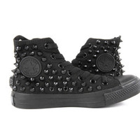 Original Converse AllStar Chuck Taylor high top studded  Converse stud Black spike on Black Shoes