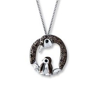 Penguin Necklace 1/10 ct tw Black Diamonds Sterling Silver