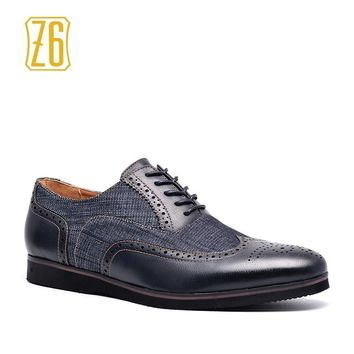 2018 men casual shoes Z6 brand Handmade breathable comfortable jeans PU Brogue men shoes #W6653 #W6652-3