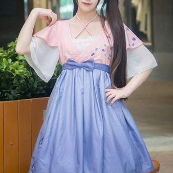 Chinese Han Style Vintage Women AKI no SAKURA Dress Blue Pink Short Sleeve Chiffon Dresses