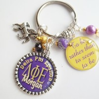 Personalized Sorority Keychain with Sorority Motto or saying of choice   SignatureBling - Accessories on ArtFire