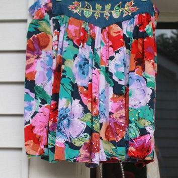 Vintage Floral and Denim Skirt Shorts, Grunge Shorts, Skort, High Waisted