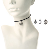 Mystical Interchangeable Charm Cord Choker Necklace