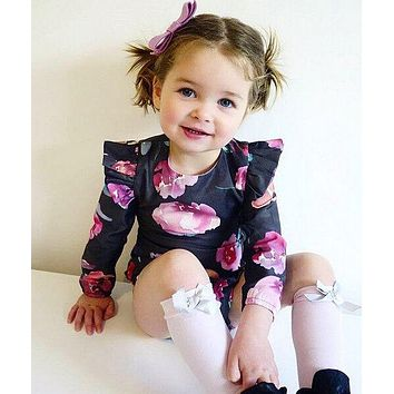 Newborn Baby Girls clothes retro zipper Romper Jumpsuit Long Sleeve Little Girl sunsuit baby girl Rompers 0-2Y