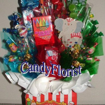 CARNIVAL Candy Bouquet Centerpiece w/ Edible Party Favors! Adorable! Unique Candy Table Display or Circus Theme! Available for Limited Time