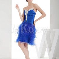Beautiful Blue Beading Knee-Length Homecoming Dress