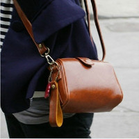 Simple Brown Camera Bag Messenger Bag Vintage Stylish PU Leather DSLR Shoulder Strap Joker Bag