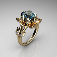 Nature Inspired 14K Yellow Gold 2.0 Carat Oval Blue Topaz Diamond Lotus Flower Engagement Ring R1013-14KYGDBT