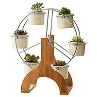 SweetLifeIdea Ceramic Garden Decor Planter Ferris Wheel Tabletop Flower Pot Succulent Plants Pot