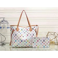 LV Louis Vuitton Popular Women Fashion Leather Handbag Bag Cosmetic Bag Purse Two Piece Set White