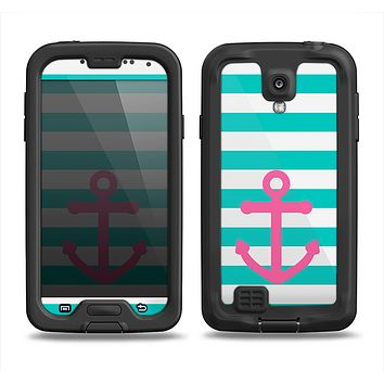 The Teal Striped Pink Anchor Samsung Galaxy S4 LifeProof Nuud Case Skin Set