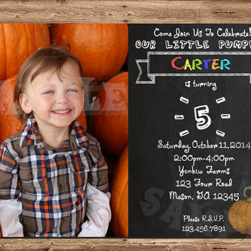 Pumpkin Birthday Invitation - Lil Pumpkin - Chalkboard - Fall Birthday Party - Children - Photo - Pumpkin Birthday Party