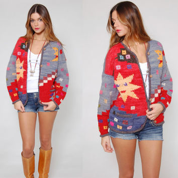 Vintage Graphic Sweater SUN & MOON Wool NOVELTY Print Hippie Cardigan