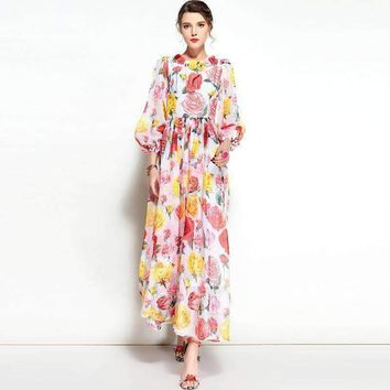 Runway Maxi Dress Women 3D Flower Latern Sleeve Floor Length Beach Party Print Long Pleated Dress