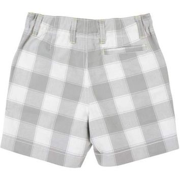 Rugged Butts-Plaid Woven Shorts, Grey-White