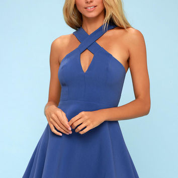 Norma Royal Blue Skater Dress