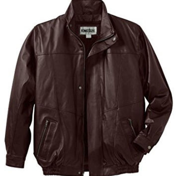 Kingsize Men's Big & Tall Leather Bomber Jacket