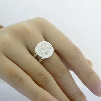 Engraved Monogrammed Ring, monogram name ring, engagement ring, personalized name ring, silver name ring, sterling silver monogram ring