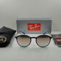 Kalete RAY-BAN ROUND LIGHTRAY TITANIUM SUNGLASSES RB4224 872/B9 BLUE/GOLD LENS 49MM