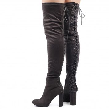 Belle Over The Knee Lace Up Back Boots In Grey Faux Suede