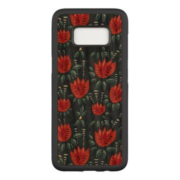 Decorative Abstract Red Tulip Dark Floral Pattern Carved Samsung Galaxy S8 Case