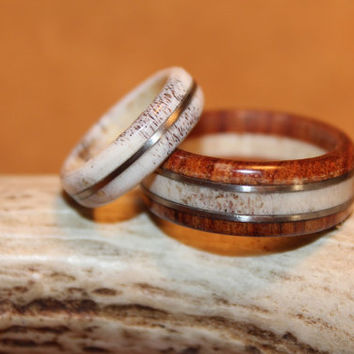 Wood ring, Antler ring, His and Hers, Deer Antler and Tamboti Wood
