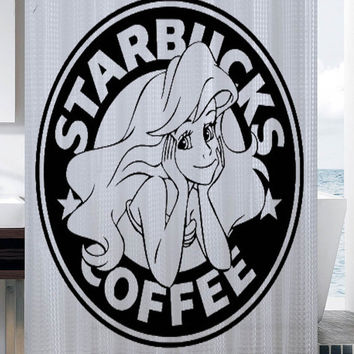 Starbucks Parody Little Mermaid Ariel shower curtain