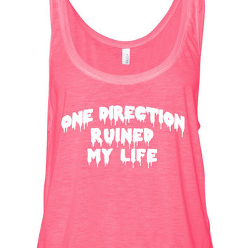 """One Direction Ruined My Life"" Boxy, Cropped Tank Top"