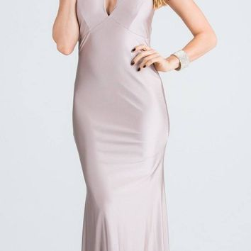 Blush Long Prom Dress Cut-Out Back with Keyhole