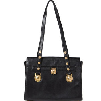 9e5602782ba9 Gianni Versace Black Leather Iconic Bag. Couture!