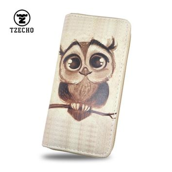 TZECHO Women's Clutch Wallet Bag Long Purse Print Cartoon OWL Long Zipper Purse for Teen Girls with Phone Ladies Card Holder
