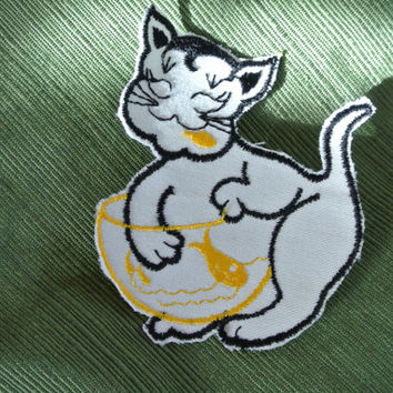 Cat - Patch - 1970s Fun - Vintage - Collectable - Backpack - Fish bowl - Kitty