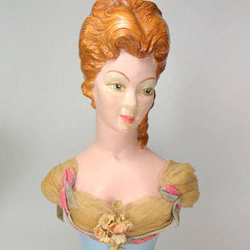 Italian or French Antique Lady Bust Sculpture Figurine Lady Head Handpainted Chalkware Signed 12.5""
