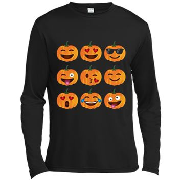 Pumpkin Emoji  Pumpkin  Emoji Halloween Costume Long Sleeve Moisture Absorbing Shirt