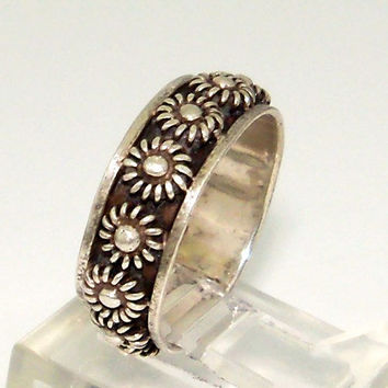 Sterling Silver Mexico Flower Ring