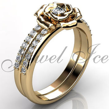 Engagement Ring Set - 14k Yellow Gold Diamond Unique Flower Wedding Band Engagement Ring Set Bridal Set Anniversary Ring Set ER-1123-2