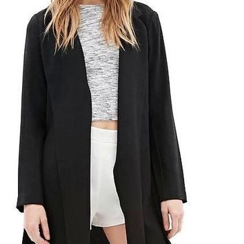 Women Fashion Casual Blazer Slim Side Split Solid Long Sleeve Midi Coat Office Lady Notched Collor Black