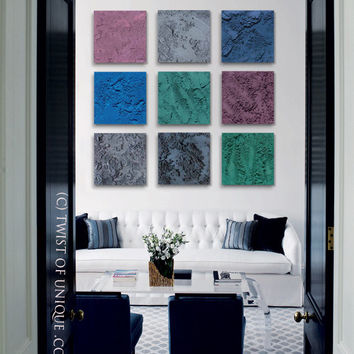 Abstract Painting,  9 square Set ORIGINAL Abstract Wall Art,  Abstract Painting, - Purple, Blue, Gray, Green, Black, Dark colors