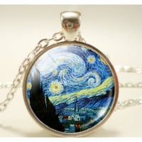 Vintage Glass Dome Starry Night Van Gogh Pendant Chain Necklace
