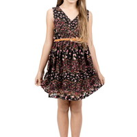 FLORAL PATTERN PRINT BELTED DETAIL DRESS GIRLS