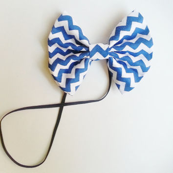 Blue Chevron Headband, Small Hairbow Headband, Toddler Headband, Baby Headband, Spring Headband