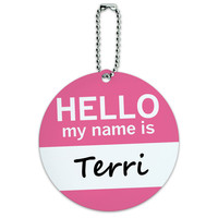 Terri Hello My Name Is Round ID Card Luggage Tag