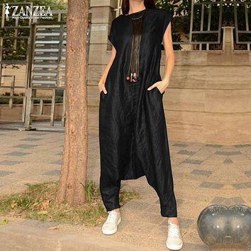 Women's Drop Crotch Jumpsuits 2019 ZANZEA Summer Cargo Pants Palazzo Overalls Playsuits Short Sleeve Rompers Macacao Feminino 7