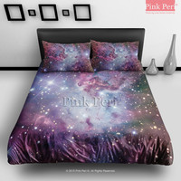 Fox Fur Nebula Galaxy Bedding sets Home & Living Wedding Gifts Wedding Idea Twin Full Queen King Quilt Cover Duvet Cover Flat Sheet Pillowcase Pillow Cover 020