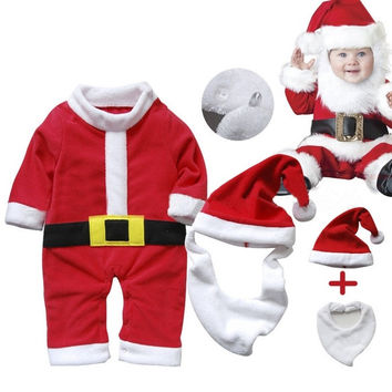 Newborn Tollder Winter Warm Outfit Santa Claus Baby Rompers Long Sleeve Christmas Costume 3pcs kids Bodysuit = 1945898500