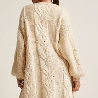 Cable Purl-Knit Longline Cardigan