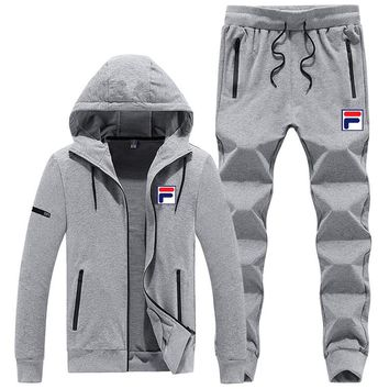 FILA autumn and winter new sports men's casual fashion running clothes two-piece Grey