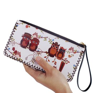 Owl graffiti wallet girl's wrist drawing handmade purse womens wallets and purses female clutch purse PU leather card holder bag