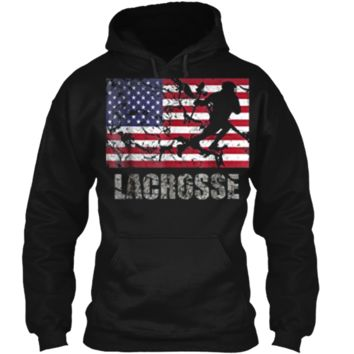Lacrosse American Flag T-Shirt USA Flag Fan Vintage Retro Pullover Hoodie 8 oz