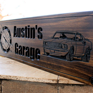 Garage Sign- Man Cave Sign-Shop Sign- Truck Sign-Custom sign-Personalized Wood Sign-Anniversary Gift- (CWD-107)